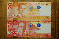Philippines set of 2 different 20 Piso 2014A and 50 Piso 2014 AU-Unc.