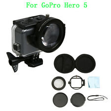 58mm HD Macro Lens +16 Filter + Lens Cap + Adapter Set For GoPro Hero 5 Camera