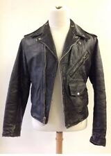 Vintage Steerhide Leather Motorcycle Jacket Rockabilly Cafe Racer Men's S