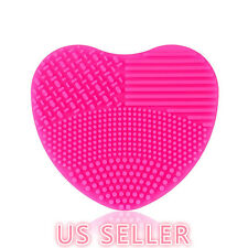 MAKEUP BRUSH CLEANER Heart Shape Scrubber Cosmetic Cleaning Silicone Foundation