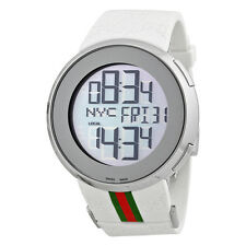 Gucci I-Gucci Striped White Rubber Extra Large Unisex Digital Watch YA114214
