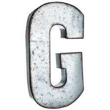 "Large 20"" Silver Galvanized Vintage Metal Letter & Marquee ""G"". Monogram."