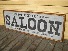 """PERSONALIZED WITH YOU NAME SALOON BAR OLD RUSTIC MAN CAVE WOODEN SIGN 37""""x13"""""""