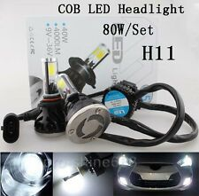 COB LED Headlight Lamp Light Bulbs KIT H11 H9 H8 High Beam 80W 6000K White TQ