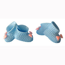 12 Baby shower favors plastic blue booties attached with a pink bow decoration