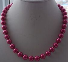 Hot! 10mm Rose Red South Sea Shell Pearl Round Beads Necklace 18'' AAA L17