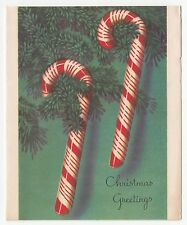 Vintage Greeting Card Christmas Candy Canes Hawthorne Sommerfield L10