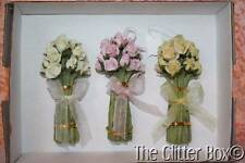 Christmas Ornaments Shabby Cottage Chic Bouquet Of Roses Pink White Yellow