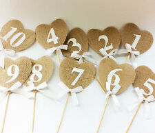 Hessian Table Numbers 1-10 Burlap Heart Wedding Party Vintage Rustic Shabby Chic