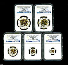 2014 CANADA SILVER MAPLE LEAF GILT GOLD NGC PF70 REVERSE PROOF 5 COIN SET FR