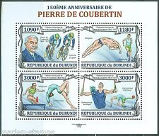 BURUNDI  2013 150th BIRTH PIERRE de  COUBERTIN OLYMPIC GAMES ORGANIZER  SHEET