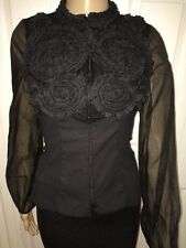 ART TO WEAR! Anne Fontaine CRISTA Beaded Black Blouse  Size 38 NWT!