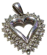 1.00CT CLUSTER DESIGNER MARKED STERLING SILVER WOMENS HEART PENDANT 1 1/8""