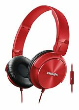 Philips HEADPHONES Red SHL3065RD Foldable Stereo Music Headset Earphones w/ mic