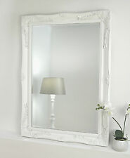 """Isabella White Shabby Chic Rectangle Antique Wall Mirror 42"""" x 30"""" V Large"""