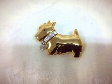 Signed Givenchy Scottie Dog Pin Gold Rhinestones Designer Scottish Terrier