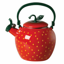 Red Strawberry Whistling Tea Kettle - Enamel Over Stainless Steel - 2.5 qt.