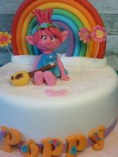Princess Poppy Troll,Rainbow,Handmade,Personalised,Birthday,Cake topper