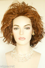 Modern Full Bodied Striking Medium Short Brunette Red Wavy Wigs