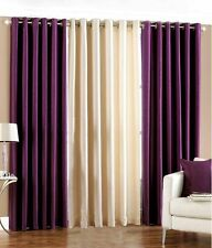 SA Plain 2Purple-1Cream 7Ft Door Curtains-Set of 3