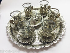 Ottoman Turkish Tea Glasses Gift Set with Holder Handles Saucers Glass Cups Tray