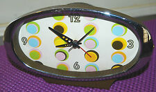 "Vintage Desk Clock Mod Psychedelic Oval Desk Alarm Bell Battery Operated 7 1/2""w"