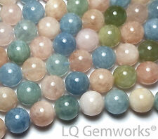 "15"" Blue AQUAMARINE Pink MORGANITE BERYL 12mm Round Beads NATURAL /B12"