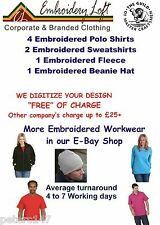 "EMBROIDERED PERSONALISED POLO SHIRT WORKWEAR PACK ""FREE"" LOGO SET-UP"