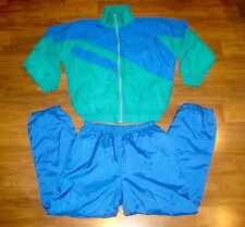 Vtg 80s Green Blue COLOR BLOCK Windbreaker XL Coat Jacket Pants TRACK SUIT set