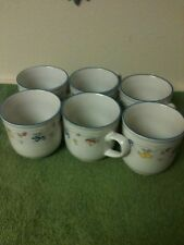 Set of 6 Beautiful Decrative Coffee cups surrounded by fruit & trimmed in Blue