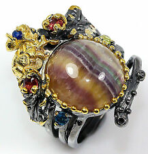 Handmade Jewelry Natural Fluorite 925 Sterling Silver Ring Size 7