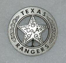 Texas Rangers Co. A Old West Replica Lawman Badge with Peso Stamped Back PH024