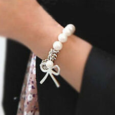 Fashion Women's Bowknot Pearl Butterfly Hand Chain Bracelet Bangle Siliver