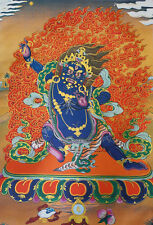 "BROCADED WOOD SCROLL 32"" TIBET SILK THANGKA TAPESTRY:VAJRAPANI, POWER OF BUDDHA"