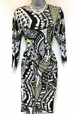 River Island Aztec Print Twist Knot Stretch Bodycon Evening Dress Size 14