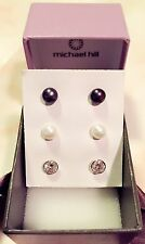 Michael Hill 925 silver Pearls And CZ Earrings, MHJ 925 Stamped.