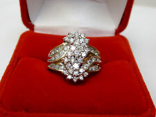 Natural 3/4 CTW Diamond Waterfall Cluster Ring Solid 10k Yellow Gold Sz 7