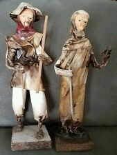 "Paper Mache Peasant Couple with Clay Faces 11 1/2"" Tall"