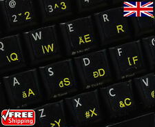 Hungarian English Black Keyboard Stickers with Yellow Letters Laptop Computer PC