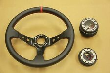 BLACK/RED DEEP DISH STEERING WHEEL+ HUB ADAPTER+QUICK RELEASE CELICA MR2 COROLLA