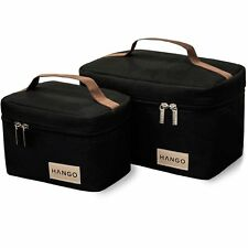 NEW Hango Insulated Lunch Box Cooler Bag Set of 2 Sizes Large and Small Black