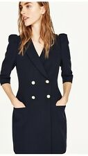 ZARA New Navy Blazer Dress With Puff Shoulder Pearls Buttons M Uk 10