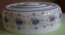 Vtg Quoizel White Glass Abigail Adams Blue Floral Shade Ceiling Fixture Globe