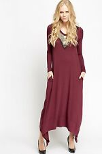 NEW LOOK EMBELLISHED  V NECK JERSEY DRESS WITH SIDE POCKETS IN  PLUM,  SIZE -12