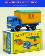 Matchbox lesney 60-B leyland site hut truck, corps bleu chrome base e boxed