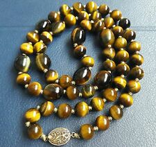 Antique Gold On Sterling Silver Clasp Tigers Eye Gemstone Necklace Vtg Jewellery