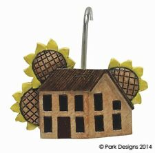 House and Sunflowers Bathroom Shower Curtain Hooks by Park Designs - Set of 12