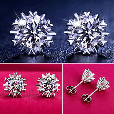 Hot Women 925 Sterling Silver Plated Jewelry Snowflake Crystal Ear Stud Earrings