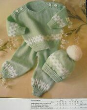 "#R21 BABY GIRL/BOY KNITTING PATTERN DK SWEATER, PANTS & HAT 18-24"" 46-51cm"