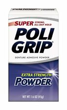 Pack Of 6 Poligrip Super Denture Adhesive Powder Extra Strength 1.6 Oz Container